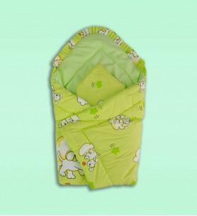 Becik niemowlęcy z poduszką zielony